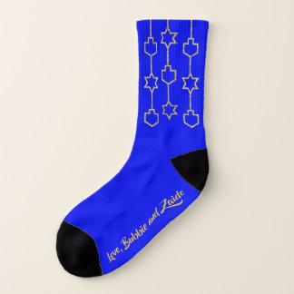 """Hanukkah Socks """"Gold Dreidel & Star Charms"""" 1"""