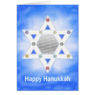 Hanukkah Star and Snowflakes Blue (photo frame) Card