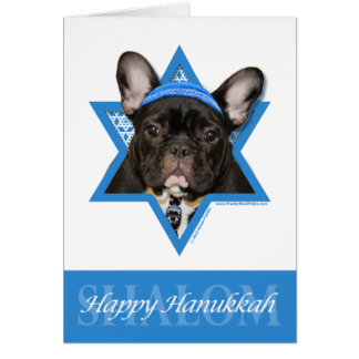 Hanukkah Star of David - French Bulldog - Teal Card