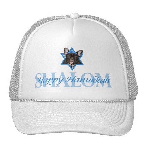 Hanukkah Star of David - French Bulldog - Teal Mesh Hat