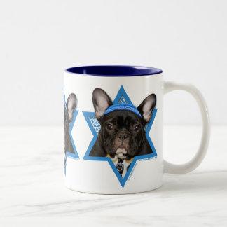 Hanukkah Star of David - French Bulldog - Teal Two-Tone Coffee Mug