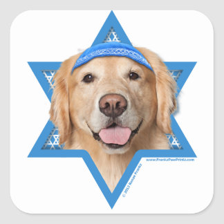 Hanukkah Star of David - Golden Retriever - Corona Square Sticker