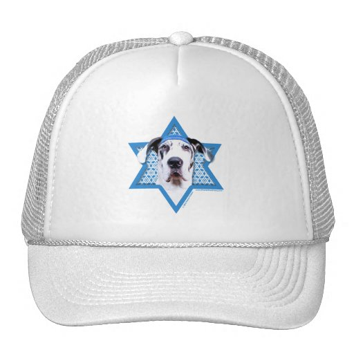 Hanukkah Star of David - Great Dane - Harlequin Mesh Hat