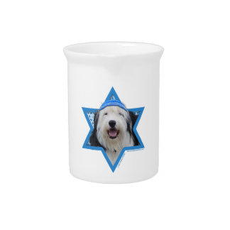 Hanukkah Star of David - Old English Sheepdog Pitcher
