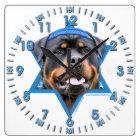 Hanukkah Star of David - Rottweiler Square Wall Clock