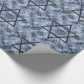 Hanukkah Star of David Sunbursts and Blue Wrapping Paper