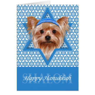 Hanukkah Star of David - Yorkshire Terrier Note Card