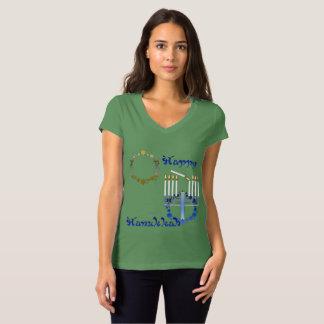 Hanukkah Stars Ladies V-Neck Jersey T-Shirt