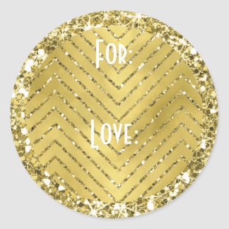 "Hanukkah Stickers (1 1/2"" or 3"") ""Chevron Gold"""