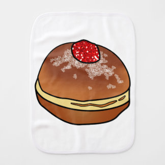 Hanukkah Sufganiyah Jelly Donut Baby Item Burp Cloths