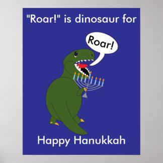 Hanukkah Tyrannosaurus Rex Dinosaur Poster