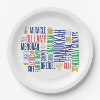 Hanukkah Words Holiday Paper Plates