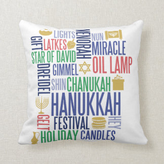 Hanukkah Words Holiday Throw Pillow