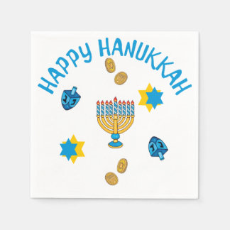 Hanukkuh Symbols Disposable Napkins