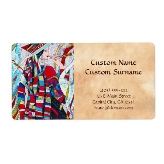 Hao Ping Crane Dance abstract lady painting Shipping Label