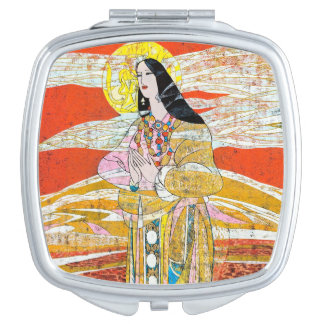 Hao Ping 'Pray' praying oriental lady abstract art Mirror For Makeup