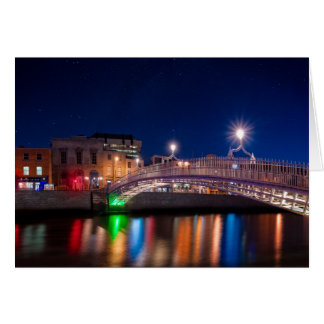 Ha'Penny Bridge Under A Night Sky In Dublin Card