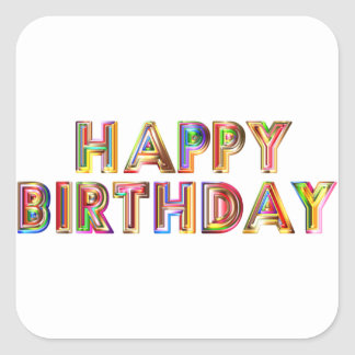 Happ Birthday Square Sticker