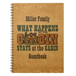 Happens At The Cabin Personalized Guestbook Notebook