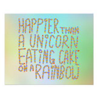Happier Than A Unicorn Eating Cake On A Rainbow. Flyer Design
