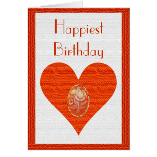 Happiest Birthday Cameo Heart Card