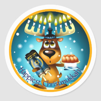 Happiest Christmukkah Hanukkah Christmas Reindeer Round Sticker