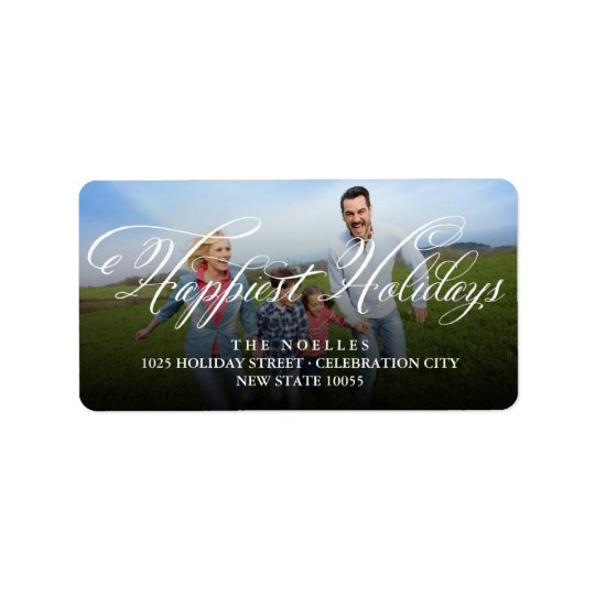 Happiest Holidays Fancy Script Photo Address Label