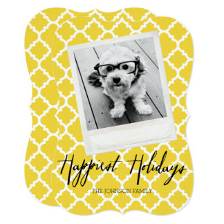 Happiest Holidays Modern Quatrefoil Pattern Photo Card