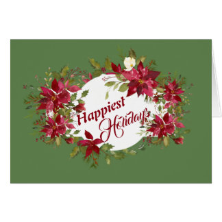 Happiest Holidays Poinsettias Card