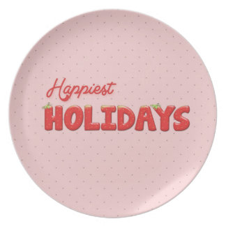 Happiest Holydays Strawberry Text Party Plate