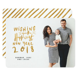 HAPPIEST NEW YEAR (FULL BLEED PHOTO)GOLD EFFECT CARD