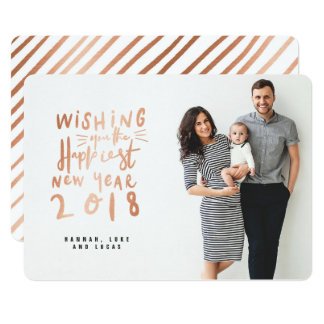 HAPPIEST NEW YEAR (FULL BLEED PHOTO)ROSE GOLD CARD