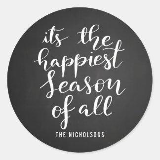 Happiest Season | Handwritten Script Holiday Classic Round Sticker
