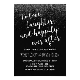 Happily Ever After Black Glitter Modern Wedding Card