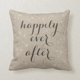 Happily Ever After Burlap Cushion