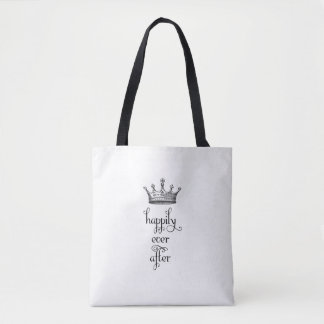 Happily Ever After Crown Black and White Tote Bag