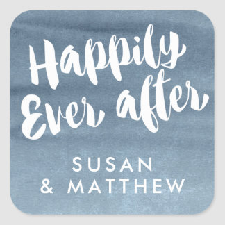 Happily Ever After, Favor Tag Blue Watercolor