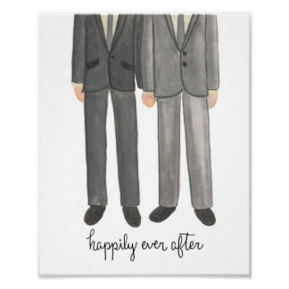 Happily Ever After, Gay Wedding Couple art print