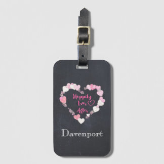 Happily Ever After Glittery Pink Hearts Luggage Tag