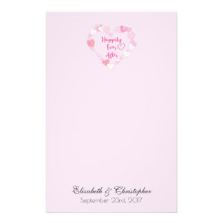 Happily Ever After Glittery Pink Hearts Wedding Stationery Paper