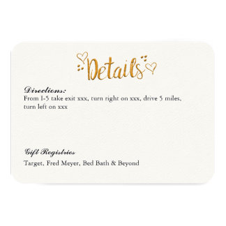 Happily Ever After Gold Details/Reception Card