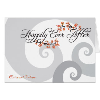 Happily Ever After Hibiscus Wedding Thank You Card