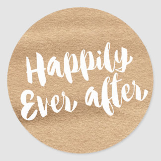 Happily Ever After,  Mocha Watercolor Envelope Classic Round Sticker