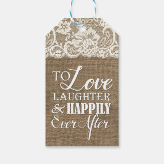 Happily Ever After Monogram Burlap Lace Wedding Pack Of Gift Tags