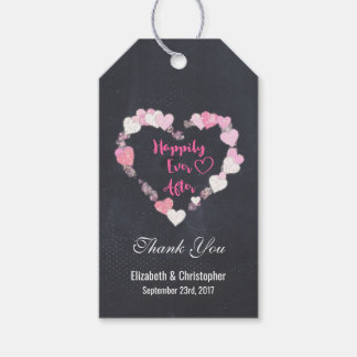 Happily Ever After Pink Hearts Wedding Thank You Pack Of Gift Tags