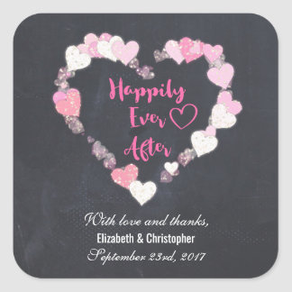 Happily Ever After Pink Hearts Wedding Thank You Square Sticker