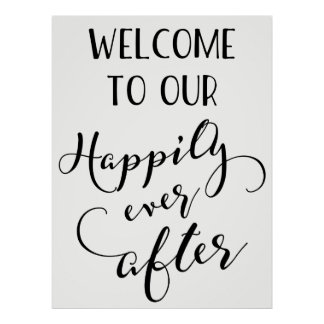 Happily Ever After Poster, Wedding Ceremony Poster