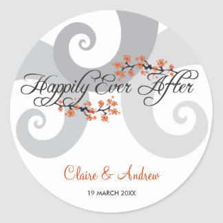 Happily Ever After Script Hibiscus Wedding Sticker