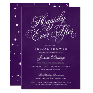Happily Ever After Shower Invitations Royal Purple