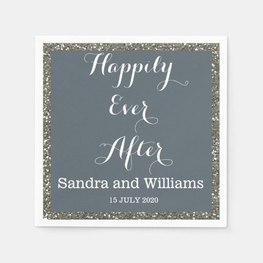 'Happily Ever After'-Silver Glitter Personalized Paper Napkins